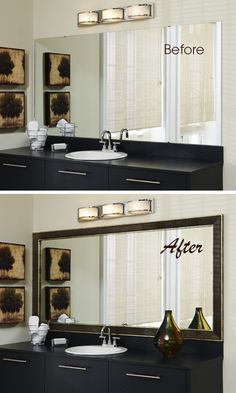 Easily update your bathroom in one simple step. Go from dated to designer style in minutes with the addition of a press-on mirror frame from MirrorMate.  They have over 65+ styles you can choose from.  It's amazing how this simple change can make the whole bathroom feel updated.