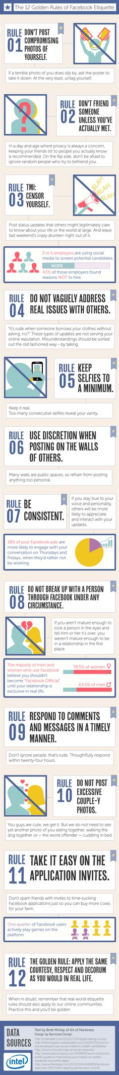 12 Rules of Facebook Etiquette by Intel http://communitymanagerfreelance.it/blog/community-manager-personal-branding-2/