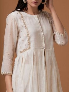 Off White Zardozi Embroidered Chanderi Jacket with Pants - Set of 2 Pakistani Fashion Casual, Pakistani Dresses Casual, Pakistani Dress Design, Indian Fashion, Kurta Designs Women, Salwar Designs, Designs For Dresses, Dress Neck Designs, Indian Designer Outfits