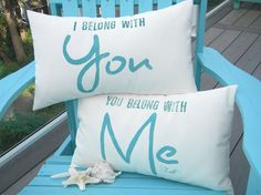 Outdoor pillow pair I Belong With You 12x20  by crabbychris, $50.00