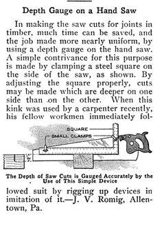 Depth gauge on hand saw. Popular Mechanics, circa June 1917, page 935