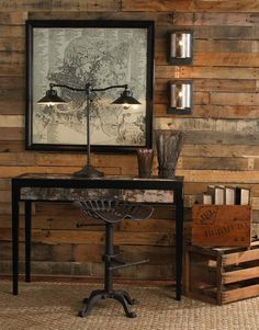 I love everything about this ...the pallet wall, the industrial desk, the stool (I LOVE the stool)...and the lamp...awesome