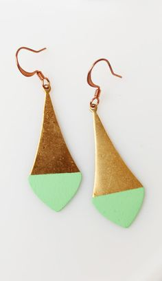 Pointed Mint Color Dipped Brass Dangle Earrings