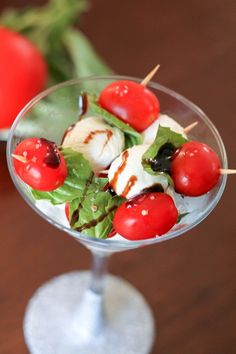 Caprese Salad presentations - something to use the martini glasses for!