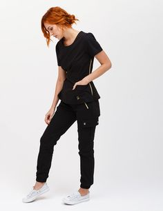 The Jogger Pant in Black - Medical Scrubs by Jaanuu Jogger Pants, Joggers, Jaanuu Scrubs, Scrubs Outfit, Cute Scrubs Uniform, Black Scrubs, Medical Uniforms, Womens Scrubs, Medical Scrubs