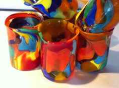 Brightly colored with swirls of rich colored glass, it is a joy to have in your hand and makes you smile to look at it. #authenticitalianglass #muranoglass #muranoitalianglass