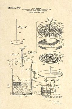 Official Coffee Press US Patent Art Print - Antique Vintage French Cafe - 115