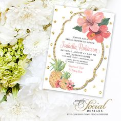 Tropical Bridal Shower Invitation  Glitter by SimplySocialDesigns