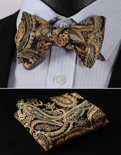 BF4011D Gold Paisley Floral Classic 100%Silk Jacquard Woven Men Self Bow Tie BowTie Pocket Square Handkerchief Suit Set(China (Mainland))