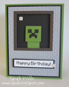 Punch Art Minecraft Creeper Card by willsygirl - Cards and Paper Crafts at Splitcoaststampers Minecraft Cards, Minecraft Birthday Card, Birthday Cards For Boys, Handmade Birthday Cards, Minecraft Stuff, Boy Birthday, Birthday Ideas, Boy Cards, Kids Cards