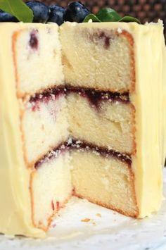 Marbled Lemon Blueberry Butter Cake