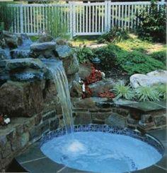 Cascade et  fontaine de jardin , 69 déco pour les moments de relaxe - cascade-piscine-petit-jarin