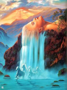 Woman hair is waterfall lying on a mountain with horses running surreal art Simple Oil Painting, Beautiful Waterfalls, Visionary Art, Nature Paintings, Horse Paintings, Surreal Art, Optical Illusions, Belle Photo, Mother Nature