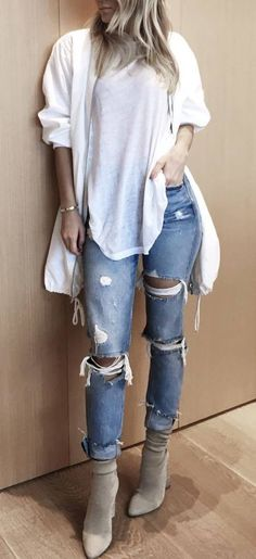 street style addict top + ripped jeans + heels