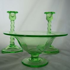 Vintage Cambridge Spiral Twist Candlesticks Console Bowl in Uranium Green, circa Removed Fenton Glassware, Antique Glassware, Candlesticks, Candlestick Holders, Vintage Green Glass, Glass Insulators, Vaseline Glass, Vintage Dishes, Glass Dishes