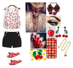 """""""Cherry"""" by kayla1233482928593 ❤ liked on Polyvore featuring Boutique Moschino, Melissa, TONYMOLY, RED Valentino and H&M"""