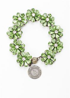 This bracelet will bring you lots of luck! A combination of stunningly beautiful green flowers make up our Lady Luck Bracelet. wear a bracelet, find a cure. Link Bracelets, Silver Bracelets, Christmas Coal, St Paddys Day, Vintage Love, Flower Making, Cancer Awareness, Handcrafted Jewelry, Special Gifts
