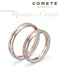 Rossana e Cyrano wedding rings by Comete Gioielli, with 4 diamonds