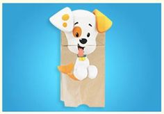 Making a Bubble Puppy puppet is easy - all you need is a brown paper bag and our print outs!