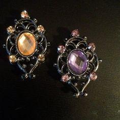 """PAIR Orange or Purple Crystal gauges plugs 1/2"""" - 12mm 9/16"""" - 14mm 5/8"""" - 16mm 11/16"""" - 18mm 3/4"""" - 19mm"""