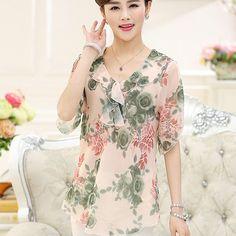 New high quality fashion women Chiffon shirt mother plus size short sleeve summer Ruffle blouse lady clothing pullover