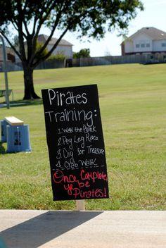 Treino de piratas - completando estas provas torna-se um pirata! Cartaz para apresentação dos jogos...