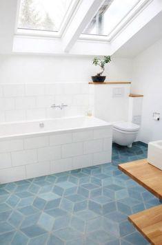 Geometric tile blue block tile floor in white bathroom - bathroom flooring Bathroom Tile Designs, Bathroom Floor Tiles, Bathroom Renos, Bathroom Ideas, Attic Bathroom, Kitchen Floor, Shower Floor, Bathtub Designs, Tub Tile