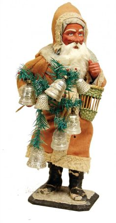 Christmas Santa decoration, big Candy container with basket and glass Christmas bells. Victorian Christmas, Vintage Christmas Ornaments, Christmas Tree Decorations, Vintage Holiday, Father Christmas, Country Christmas, Christmas Fun, German Christmas, Outdoor Christmas