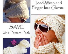 2in1 - Winter White Head-Wrap and Winter White Fur-Gloves. Special price for both - Instant Download Pdfs