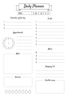 Make your daily planning more comfortable with this pretty simple printable template. Not boring design can decorate your working place or become a great adding to your personal daily planner bundle. Sections available in this template: Daily Work Planner, To Do Planner, Routine Planner, Daily Planner Pages, Daily Planner Printable, Study Planner, Planner Template, Teacher Planner, Planner Layout