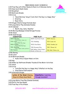 PRESCHOOL DAILY SCHEDULE 630 Free Play with Other Rooms