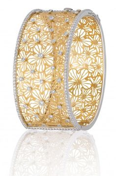 Bapalal Keshavlal's New Auratam Collection Cuff, featuring sheets of gold, laser cut and accented with white gold and diamonds.