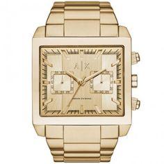 d57b0c6d19f Armani Exchange AX Mens Gold-Tone Stainless Steel Chronograph Watch  Bracelet Watch