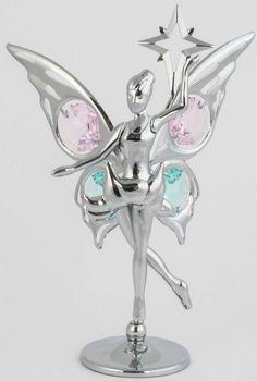 Fee / Elfe Figur mit Stern chrome plattiert MADE WITH SWAROVSKI ELEMENTS - premium-kristall