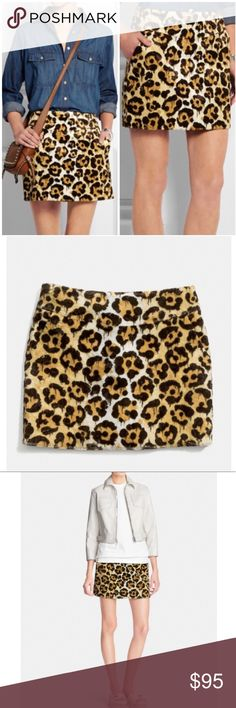 Coach Wild Beast Gary Basemen Faux Fur Skirt Brand new with tags, women's size 8. Retails for $350! This Coach Wild Beast Gary Basemen Faux Fur Skirt is definitely a statement piece and an eye catcher! A limited edition release from Coach and Gary Basemen, it features an all over graffiti drip leopard ocelot print on a soft faux fur skirt! Tailored in faux fur with a soft hand, this short and simple skirt has a yoke waistband for a smooth fit and slimming front slash pockets for treasures…