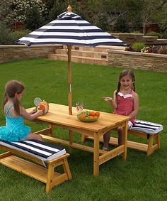 Pretty Navy Stripe & Wood Picnic Set for Kids
