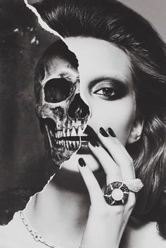 The skull is very well proportioned with the woman's head in this picture. The black and white also makes the picture blend better and look more real. The way her hair and makeup has been done compliments the skull.