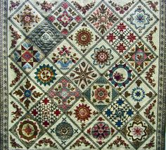 """Antique Wedding Sampler Revisited"" by Di Ford.  Posted at Seams French: Alsace Quilts"