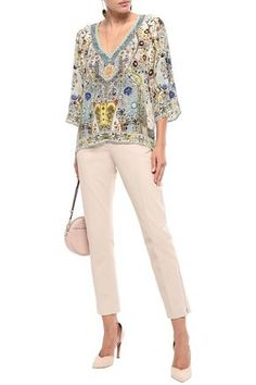Camilla Indiana Franks Crystal-embellished Printed Silk Crepe De Chine Top In Off-white Dress Outfits, Fall Outfits, Fashion Outfits, Camilla Clothing, Evening Tops, Silk Crepe, Ladies Boutique, Top Sales, Jacket Dress