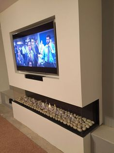Excellent Photo Electric Fireplace with tv above Popular Meubles deco tele Living Room Decor Fireplace, Home Fireplace, Modern Fireplace, Fireplace Design, Living Room Grey, Living Room Modern, Home Living Room, Living Room Designs, Fireplace Ideas