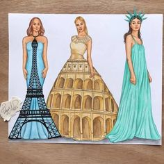Eiffelturm (FR) Kolosseum (IT) Freiheitsstatue (US) – Holly Miranda – Join in the world Cute Disney Drawings, Bff Drawings, Cool Art Drawings, Art Drawings Sketches, Dress Drawing, Drawing Clothes, Fashion Design Drawings, Fashion Sketches, Social Media Art