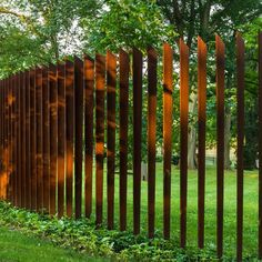 10 Simple and Modern Ideas: Metal Fence Panels brick fence landscaping. Brick Fence, Concrete Fence, Front Yard Fence, Farm Fence, Fence Art, Cedar Fence, Dog Fence, Fence Stain, Bamboo Fence
