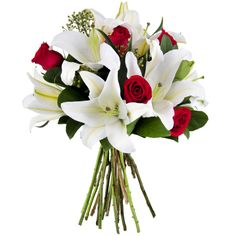 Elegance | White oriental lilies and red roses