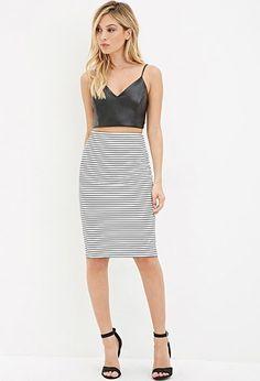 Textured Stripe Pencil Skirt | Forever 21 - 2000156238