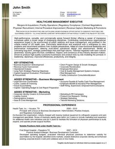 health care management executive resume template premium resume samples example