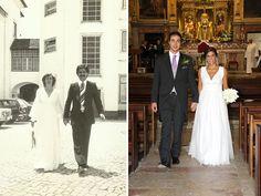 Comparação entre o vestido de noiva da Filipa usado em 2012 e o da sua mãe usado em 1977. #casamento #vestidodenoiva #noiva #Portugal #anos70 #2012 #antesedepois