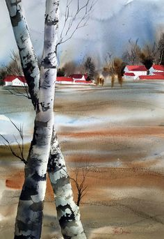 Vinterlandskab Danmark #galleriovergaard, #watercolor Painting Process, Pictures To Paint, Places Ive Been, Vibrant Colors, Watercolor, Landscape, Nature, Outdoor, Pen And Wash