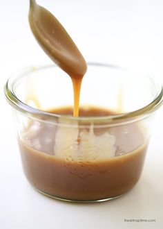 Homemade salted caramel sauce -this stuff is AMAZING! Only 4 ingredients to make and done in 15 minutes.