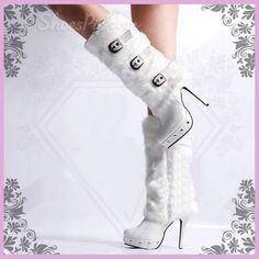 Superbe fourrure blanche bottes à talons hauts