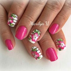 Be Hawaiian Flower Nails, Hawaiin Nails, Pink Nail Designs, Acrylic Nail Designs, Acrylic Nails, Love Nails, How To Do Nails, Fun Nails, Nail Summer